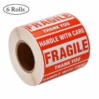 6 Rolls 2x3 500/Roll Fragile Stickers Shipping Labels Handle with Care Thank You
