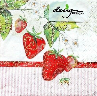 dESIGN dESIGN Set of 20 Cocktail Beverage Paper Napkins - Strawberry Fields