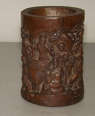 Antique Chinese Bamboo Brush Pot with carved immortals