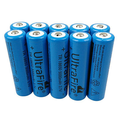 1/2/4/6/10pcs 18650 5000mAh 3.7V Li-ion Batterie rechargeable Battery Flashlight