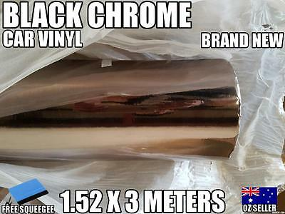 OZ Black Chrome Car Vinyl Wrap,Roll,Sticker 1520mm X 3000 mm,Squeege,Brand New