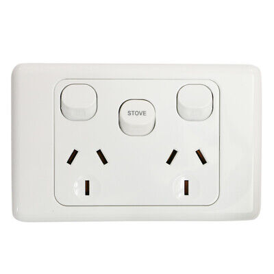 Double Power Point GPO with STOVE as extra switch - 35AMP EXTRA SWITCH