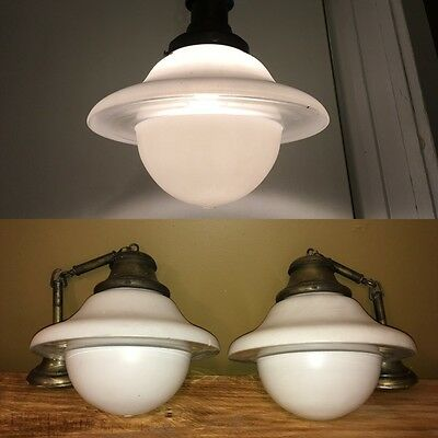 Pair 1920s Chandeliers Antique Art Deco Pendant Ceiling Light Fixture UFO Saucer