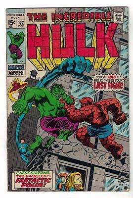 Marvel Comics VG HULK v THING #122 CLASSIC COVER 1968 Silver age Avengers