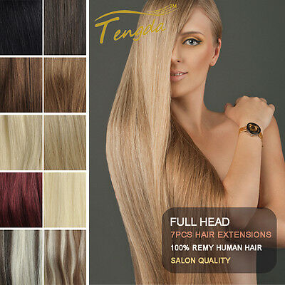 14''-24'' Full Head Clip in Remy Hair Extension 100% Real Human Hair Any Color