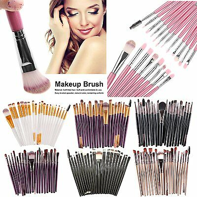 20 pz Pro Trucco Cosmetici Spazzola Pennelli Make Up Foundation Brush Set Nuovo