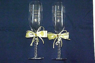 "Golden Wedding Anniversary ""50 Years"" Champagne Flutes / Wine Glasses"