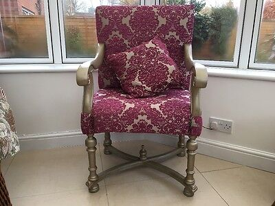Baroque style Throne Armchair Gold Craftsman Guild hand made Oak  Frame RRP£1200