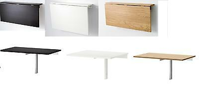 Ikea Wall Mounted Drop Leaf Space Saving Table / Desk Black or White