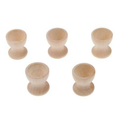 5Pcs Handmade Natural Wood Wooden Egg Cup Stand Holder Storage Display Decor