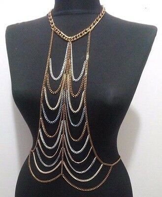 Multi Three Tone Statement Necklace Body Chain Beach Draped Uk Seller - Body 1