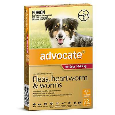 Advocate Dog 10-25KG Red (3 Pack) Flea Heartworm Worm Spot On Treatment