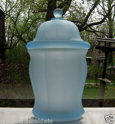 "Indiana Glass Blue Frosted 10"" Paneled Jar Canister"