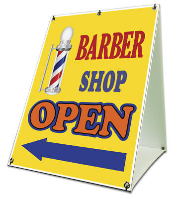"""Barber Shop Open with Arrow Sidewalk A Frame 18""""x24"""" Outdoor Store Retail Sign"""