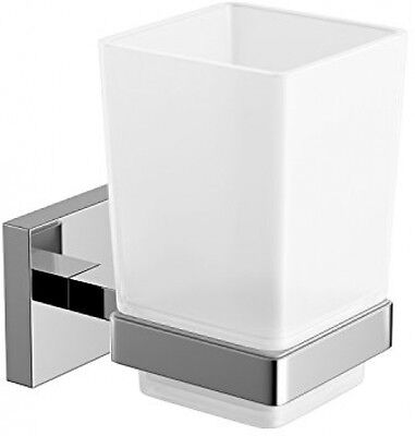 Modern Chrome Toothbrush Holder Wall Mount Tumbler Square Bathroom Accessory