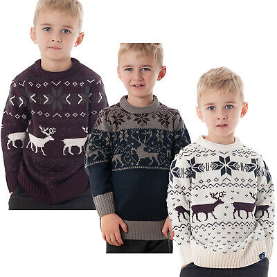 New Childrens Kids Boys Girls Christmas Xmas Retro Winter Jumper Sweater Size