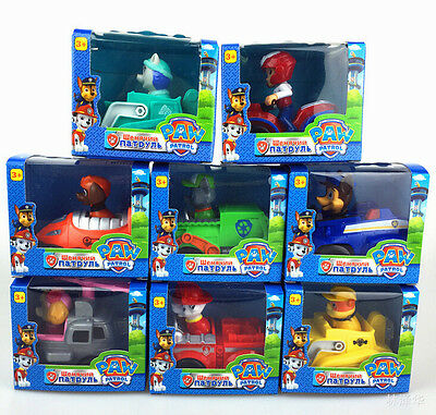Set of 8pcs Paw Patrol Racer Everest Chase Ryder Skye Character Figures Toy Gift