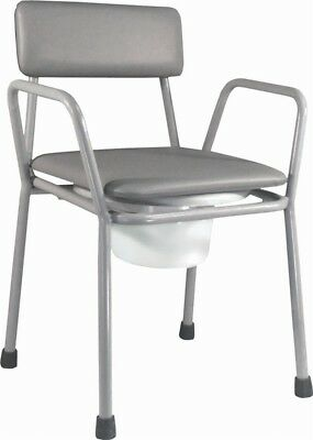 Aidapt Kent Stacking Commode Chair with Hinged Thermoset Toilet Seat | Grey