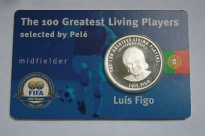 Luís Figo - FIFA The 100 Greatest Living Players - Silver Medal - Proof