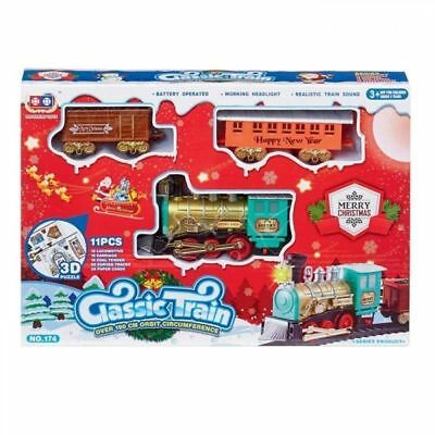 Christmas Train Set Toy Track Railway Sound and Light Festive Xmas Decoration