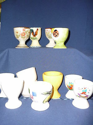Lot 12 Vintage  Egg Cups + 2 Free - Varied Designs-Shapes And Colors  # 12