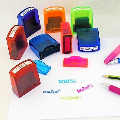 8 Self Inking School Reward Stamps Teacher Teaching Aid Student Marking +Tray