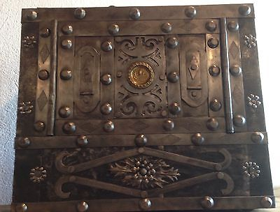 18 th Century North Italy wrought iron tricky safe strong box iron chest casket