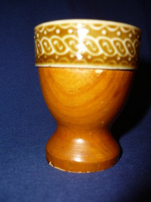 1 Vintage Egg Cup- Glazed Pottery And Wood- Russian # 16