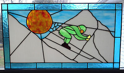 "Vtg Stained Glass Window 27x15"" Skiing Winter Landscape Mountain Skier Downhill"