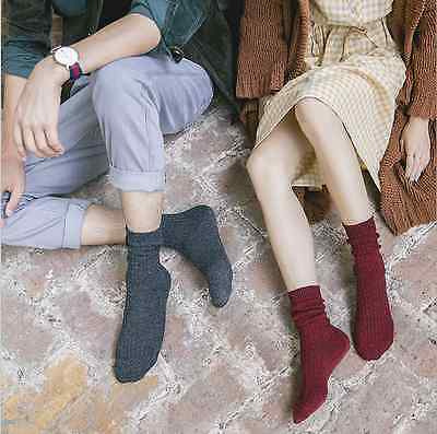 5 Pairs Women Men Combed Cotton Casual Sports Warm Thick Solid Pile Socks 6-10