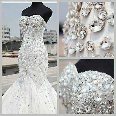 New White/Ivory Mermaid Bridal Gown Wedding Dress Custom Size 8 10 12 14 16 18++