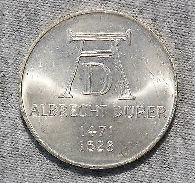 Germany 5 Mark Silver 1971 D Durer Unc. small light scratches