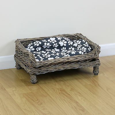 Small Raised Woven Wicker Pet Bed Basket Dog/Puppy Sofa Shabby Chic Paw Cushion