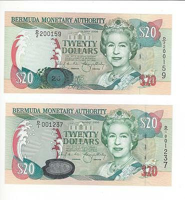 Bermuda 20 Dollars,   Two Notes Same Date But Different Security Devices