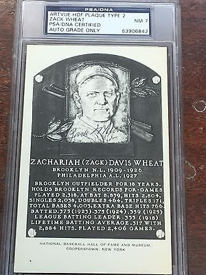Zack Wheat Signed Artvue HOF Type 2 Plaque Postcard PSA/DNA NM 7 Autograph