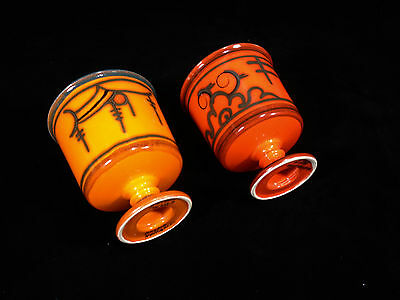 Gouda Pottery Dutch Two Vases in Shades of  Orange
