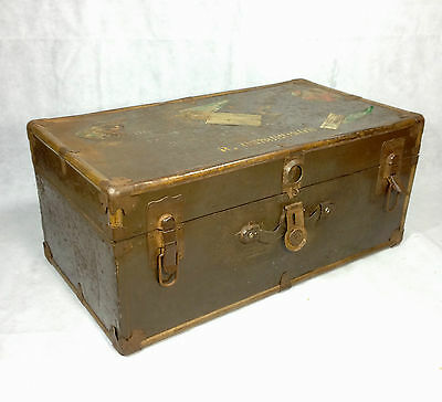 Antique Trunk / Chest / Suitcase Early 1900's Tin And Wooden White Star Line