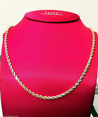 "10k Yellow Gold Necklace Hallow Hollow Rope Chain 2mm - 6mm 16"" 30 inch men wome"