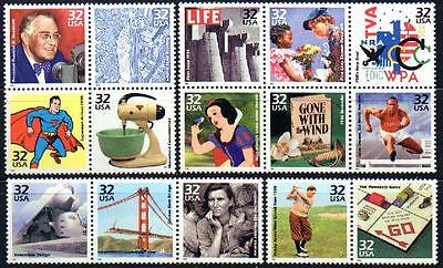 3185 a-o 1930's Celebrate The Century 15 vals Mint NH Singles Cplt Retail $11.75