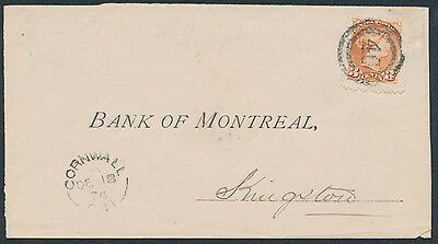 1876 Cornwall 2-Ring 40 on Bank of Montreal Cover