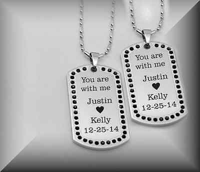 Personalized Stainless Steel Black Stone Dog Tag Necklace Set Engraved Free