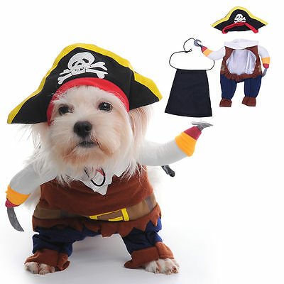 Pet Dog Cat Clothes Captain Pirate Costume Fancy Puppy Apparel Jacket Coat New