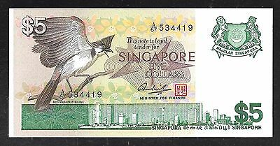 Singapore Paper Money - Old 5 Dollar Note - 1976 - P10 - Nice Unc.