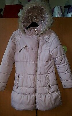 Next girl's Long padded hooded Jacket Size 11-12 years Colour Pink RRP £37