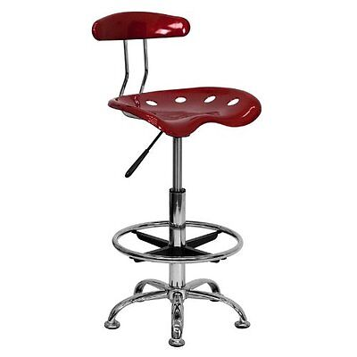 Flash Furniture Vibrant Wine Red and Chrome Drafting Stool with Tractor Seat New