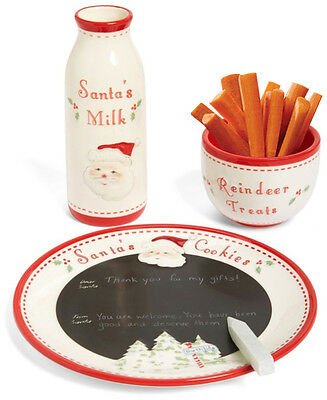 Child to Cherish Santa's Message Plate Set, Milk Jar, Reindeer Treats Bowl O280