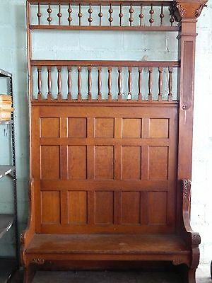 Antique Carved Oak Bench Victorian Era Built In, Architectural Salvage Hall Tree