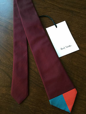 Paul Smith 100% Silk Maroon With Contrasting Blade Narrow Tie Made In Italy Bnwt