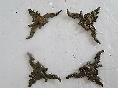Set of 4 Antique Frenall Brass Bronze Door Corner Ormolu Trim