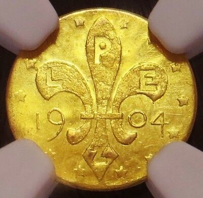 1904 Gold Louisiana Purchase 1/2 Dollar Token Ngc Mint State 62 H-61-330